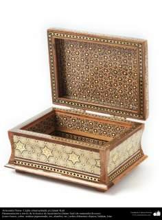 Persisches Kunsthandwerk- kleiner Box verziert in Khatam Kari - auf der Abdeckung eine dekorative Malerei - 4 - Islamische Kunst - Kunsthandwerk - Einlegearbeit und Dekoration von Objekten (Jatam Kari)