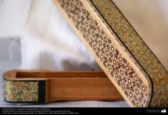 اسلامی ہنر - فن خاتم کاری سے ہاتھ سے سجایا ہوا باکس (ایک قسم کا مرصع جڑنا) ، ایران - ۱۱