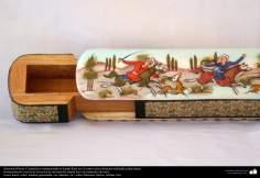 اسلامی ہنر - فن خاتم کاری سے ہاتھ سے سجایا ہوا قلمدان (ایک قسم کا مرصع جڑنا) ، ایران - ۲۰