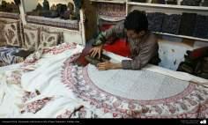 Artesanato Persa - Estampado tradicional em tecido (Chape Qalamkar) Isfahan, Irã - 1