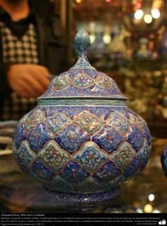 Artesanato Persa - Vaso decorativo - Mina Kari o Esmalte - Isfahan, Irã