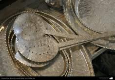 """Иранское искусство - Гравировка металла, """"Галам Зани"""" (тиснение) - Шумовка и металлические подносы - 16"""