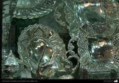 اسلامی ہنر - دھات پر حکاکی کے ذریعہ پلیٹ پر پھول کی ڈیزاین اور اسلامی نقوش (قلم زنی فن) - ۱۸