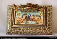 Artesanato Persa - Tinteiro ornamentado e trabalhado em Khatam Kari, Isfahan, Irã - 2