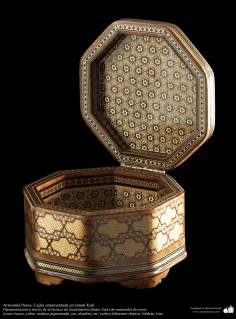 Persian Handicraft- little box ornamentated in Khatam Kari - on the cover a decorative painting - 11