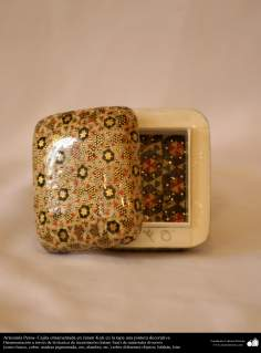 Persian Handicraft- little box ornamentated in Khatam Kari - on the cover a decorative painting - 12
