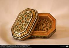 Box ornate Persian handicrafts in Khatam Kari at the top a decorative painting.