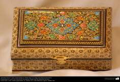 Persian Handicraft - small boxes with ornamentation and a table in Khatam Kari- 3
