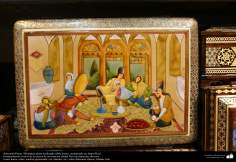Persian handicrafts- persian minature on bone, framed in Jatam Kari - 46
