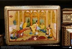 Artesanía Persa- Miniatura persa realizada sobre hueso, enmarcado en Jatam Kari - 46
