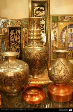Artesanato Persa - metal em relevo (Qalam Zani) Isfahan, Irã - 8