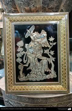 Artesanía Persa- Repujado en metal (Qalam Zani) encuadrado en Jatam Kari de Isfahán- 3