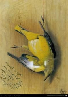 """bird hunted"" (circa 1902) - Artist: Kamal-ol-Molk"
