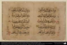 """Caligrafía islámica persa estilo """"Mohaqqaq"""", de artistas famosos antiguos; Dos páginas del Sagrado Corán - 3"""