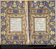 Caligrafía islámica persa estilo Nasj de artistas famosas antiguas-Mohammad Hosein Iazdi-dos páginas del Corán