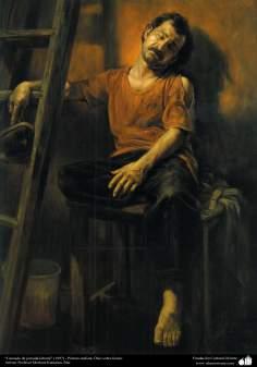 """Cansado de jornada laboral"" (1997) - Pintura realista; Óleo sobre lienzo- Artista: Profesor Morteza Katuzian, Irán"