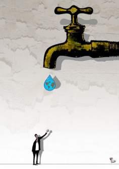 Agotamiento mundial de agua (Caricatura)
