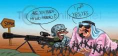 Caricatura: Obama y su financiador Arabia Saudí, están mano a mano para la destrucción de Siria