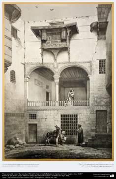 """Pintura de arte de los países islámicos- Casa conocida como """"La casa de al-Shelebi"""", interior de la fachada en el patio, El Cairo, Egipto, siglo XVIII"""