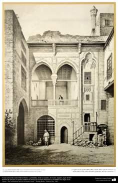 Peinture art de pays islamiques. Maison connu comme Bait al-Amir. La façade et la cour Iwan Le Caire, Egypte, XVII siècle