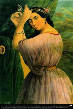 """Egyptian Girl"" (1878) - Oil on Canvas; Painting by Kamal ol-Molk"