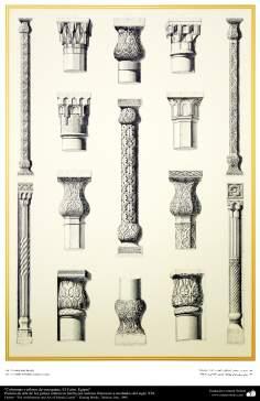 Peinture art de pays islamiques. Colonnes et des colonnes de mosquées. Le Caire, Egypte