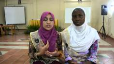 Concursantes musulmanas del certamen de belleza en Indonesia