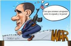 Condiciones de Obama sobre la guerra (caricatura)
