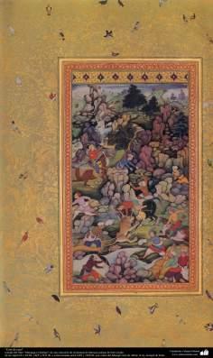 """""""Coto de caza"""" - miniatura del libro """"Muraqqa-e Golshan"""" - 1605 y 1628 dC. (7)"""