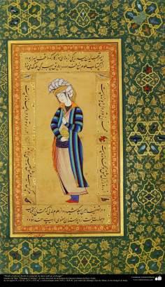"""Arte islamica-Capolavoro di miniatura persiana,Poesia in margine:""""Dal primo giorno della creazione, il tuo amore è la mia casa."""", Libro di Muraqqa-e Golscian,1628 e 1605"""