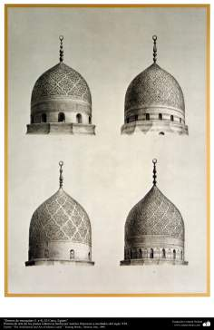 Art & Islamic Architecture in painting - Domes of mosques (1-4), Cairo, Egypt