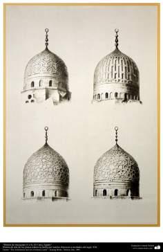 Pintura de arte de los países islámicos- Domos de mezquitas (5 a 8), El Cairo, Egipto