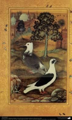 """""""Duas pombas"""" - miniatura do livro """"Muraqqa-e Golshan"""" - feito entre 1605 e 1628 d.C"""