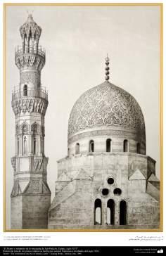 """اسلامی معماری اور پینٹنگ - """"خیر بیک"""" مسجد کی گنبد اور مینارہ کی ڈیزاین شہر قاہرہ میں ، مصر - سولہویں صدی عیسوی"""