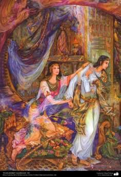 """Art islamique - un chef-d'œuvre du  minotaur persan - artiste: Professeur Mahmoud Farshchian -""""Chaste (prophète Joseph)""""-2001"""