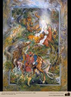 الفن الاسلامية - منمنمة الفارسی - الفنان : استاذ محمود فرشجيان – الضامن للغزال - الإمام الرضا (عليه السلام)