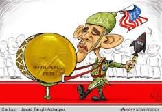 El Nobel de la paz va a la guerra (caricatura)