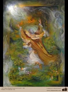 O Profeta Abraão (a paz esteja com ele), 1994. Miniatura. M. Farshchian - Irã
