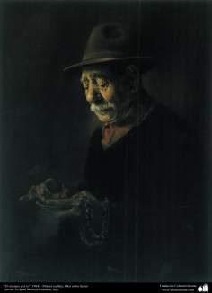 """""""El anciano y el te"""" (1984) - Pintura realista; Óleo sobre lienzo- Artista Profesor Morteza Katuzian"""