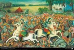 "O campo de batalha no dia de Ashura - Pintura tradicional popular persa de estilo ""cafeteria"""