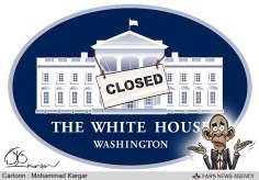 Le sort de la Maison Blanche  (Caricature)