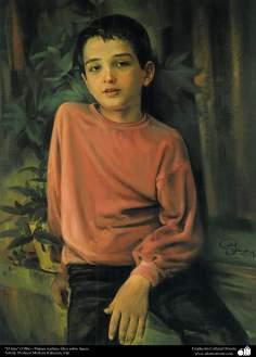"""The son"" (1986) - Realistic painting; oil on canvas, Artist: Professor Morteza Katuzian"