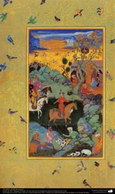 """""""O nobre, esperando para ver seu mestre"""", tirado do livro  """"Muraqqa-e Golshan"""""""