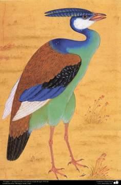 """اسلامی فن - پرانی ایرانی مینیاتور پینٹنگ (تصویرچہ) """"پرندہ""""، سترہویں صدی عیسوی"""