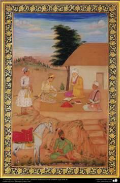 """""""El príncipe en la presencia del asceta""""- miniatura hecha en la primer mitad del siglo XVII dC."""