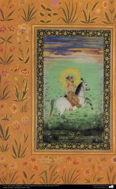 """""""The king of the world riding"""" - miniature made in the first half of the seventeenth century AD."""