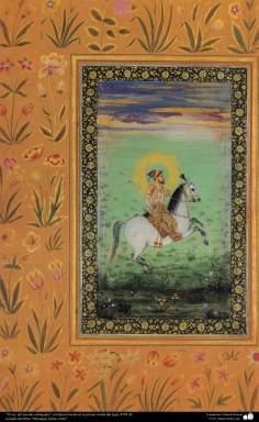 """اسلامی فن - پرانی ایرانی مینیاتور پینٹنگ (تصویرچہ) """"بادشاہ گھوڑے پر""""، سترہویں صدی عیسوی"""