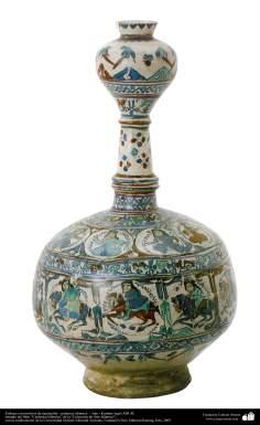 Arte islamica-Gli oggetti in terracotta e la ceramica allo stile islamico-La giara antica con le figure umane e motivi floreali e vegetali-Kashan-XIII secolo d.C