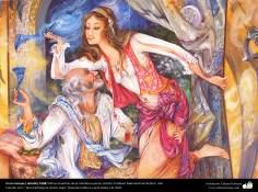 En la trampa.( detalle) 1998 Obras maestras de la miniatura persa; Artista Profesor Mahmud Farshchian, Irán