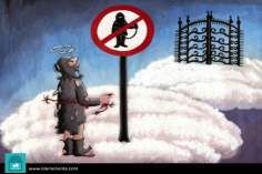 Entry a terrorist to Heaven is forbid (caricature)